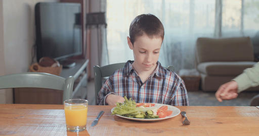 Young boy refuses to eat healthy food and vegetables Live Action