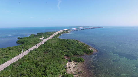 Aerial Over Overseas Highway and Bahia Honda Bridge, 4K Footage