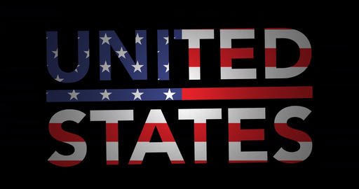 Zooming text United States with flag Animation