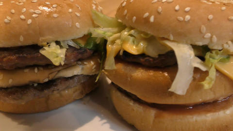 Fast food. Two double burger Footage