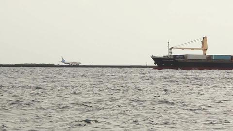 Aircraft Ship Transport Cargo Sea Waves Footage