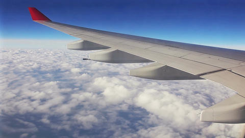 Aircraft Window Clouds Blue Sky Footage
