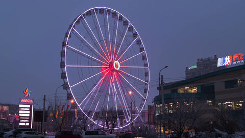 Ferris Wheel Illumination Almaty Kazakhstan Time Lapse 4K Footage