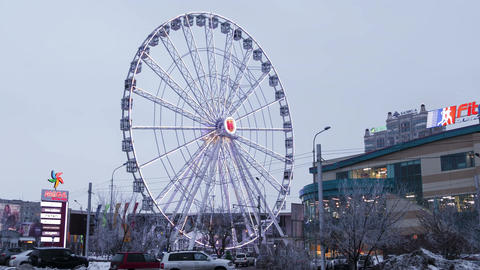 Ferris Wheel Illumination Almaty Kazakhstan Time Lapse... Stock Video Footage