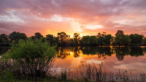 Colorful landscape time lapse of beautiful sunrise over Desna river in Ukraine Footage