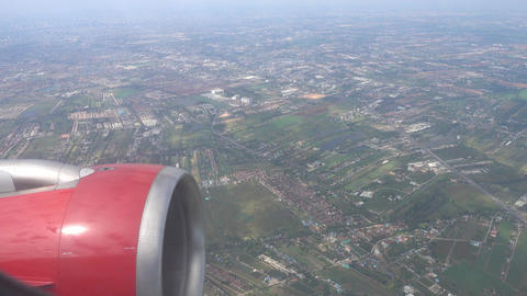 Aerial view on Bangkok from flying airplane Footage