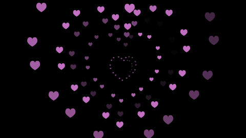 Hearts, a Romantic Animation, Black Background (Seamless Looping Video) Footage