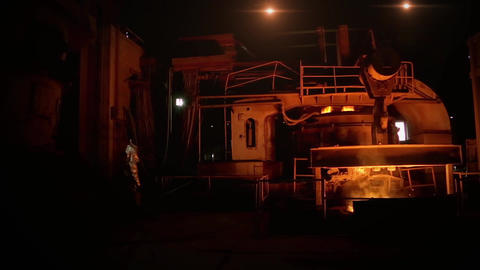 Worker At The Steel Plant Footage