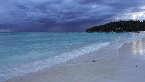White sandy beach on background of stormy sky Footage