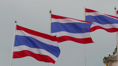 Kingdom of Thailand flags, 4k Footage