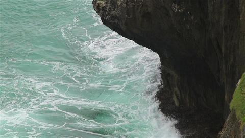 Rock and ocean waves Footage