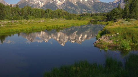 Mountains Reflected Smooth Water Grand Teton National Park Footage