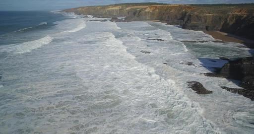 Aerial, Flight Above Praia De Cavaleiro Coast Line, Portugal Footage
