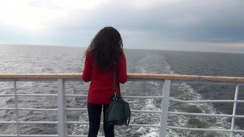 Young Woman On Ship Deck Footage