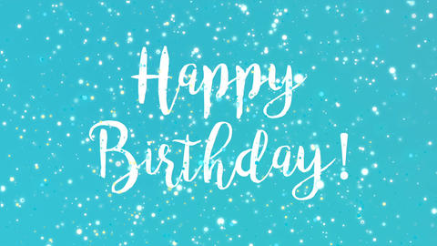 Sparkly turquoise blue Happy Birthday greeting card video Stock Video Footage