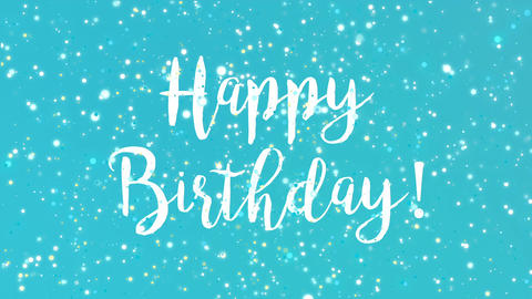 Sparkly turquoise blue Happy Birthday greeting card video Animation