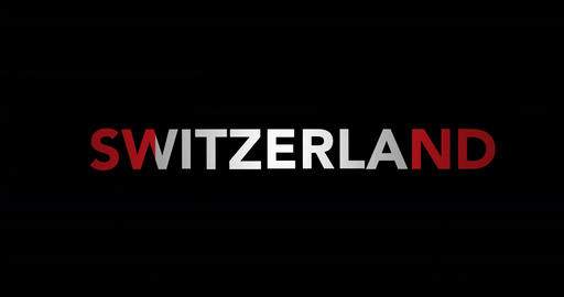 Zooming text Switzerland with flag Animation