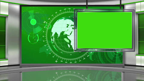 HD News-04 TV Virtual Studio Green Screen Green Colour Globe with Monitor Animation