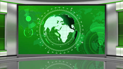 HD News-03 TV Virtual Studio Green Screen Background Green Colour with Globe Animation
