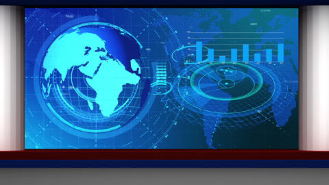 HD News-06 TV Virtual Studio Green Screen Background Blue Colour Globe and Graph Animation