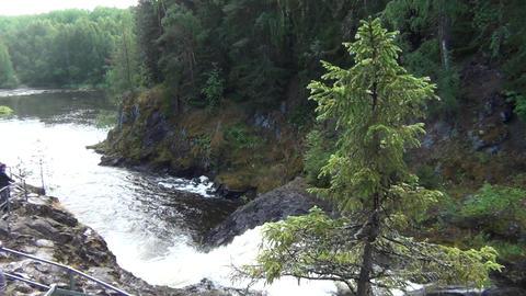 Dangerous mountain waterfall Footage