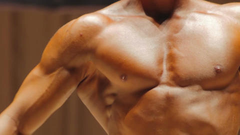 Muscular torso of healthy strong man and bodybuilder's exhausted body, contrast Footage