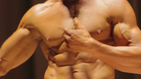 Annoyed bodybuilder disappointed with competition… Stock Video Footage