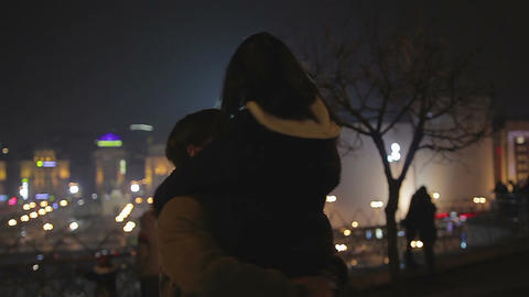 Happy young man in love hugging girlfriend as she says yes to marriage proposal Footage