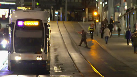 Evening rush hour in big city, commuters travel by public transport after work Footage