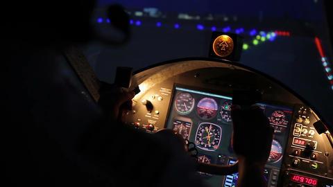 Aeroplane taking off, plane captain navigating aircraft professionally, aviation Footage