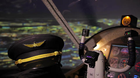 Commercial pilot's hat on seat in cockpit, aviation school, prestigious job Live Action