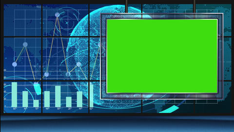 HD News-11 TV Virtual Studio Green Screen Blue Colour with Graph & monitor Animation