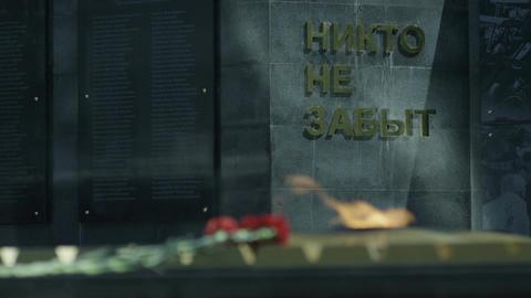 Closeup Everlasting Flame at Memorial to War Heroes Footage