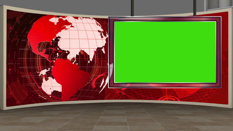 HD News-14 Virtual Studio Green Screen Red with Globe & Monitor Animation