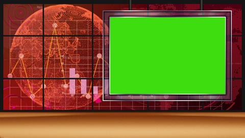HD News-13 TV Virtual Studio Green Screen Red Colour with Globe & Monitor Animation