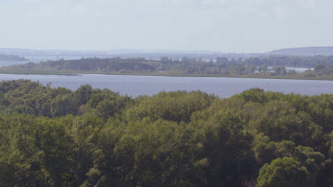 Upper View Boundless Landscape with Large River Forestry Banks Footage