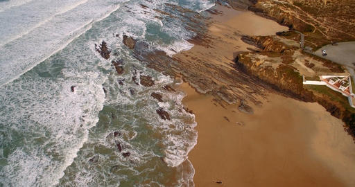 Aerial, Flight Along The Beautiful Praia De Nossa Senhora, Portugal Footage