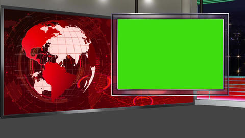 HD News-18 Virtual Studio Green Screen Red Colour with Globe & Monitor Animation