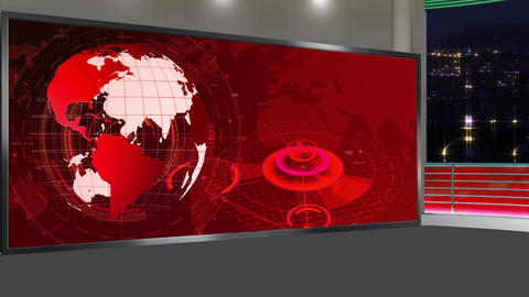 HD News-17 TV Virtual Studio Green Screen Red Colour with Globe Animation