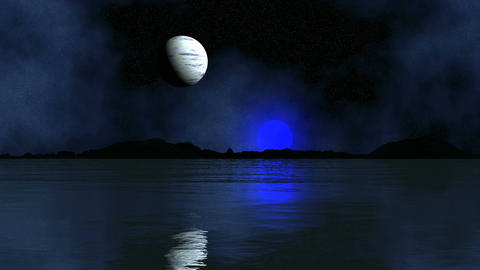 Two Of The Moon Reflected In The Water Animation