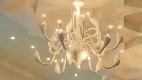 Closeup Camera Move from Chandelier to Carved Ceiling Footage