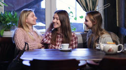 Group of girl friends meeting for coffee and talk Footage