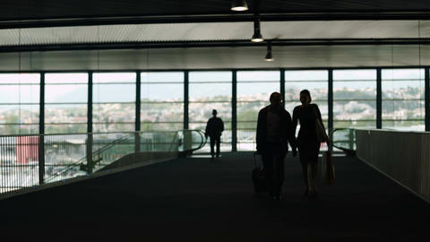 Silhouette of couple carrying luggage in airport hall, tourism, business trip Footage