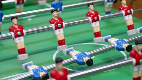 Football table-top game for entertainment, active rest at leisure, male hobby Live Action