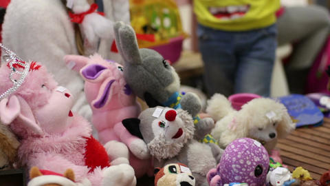 Kind-hearted volunteers collecting children's toys for charity aid to orphans Footage