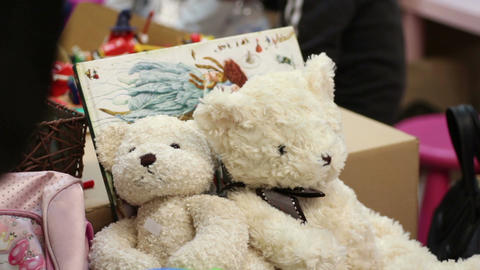 Nice teddy bears at toy shop, tender gift for child, romantic present on date Live Action