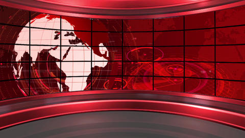 HD News-19 TV Virtual Studio Green Screen Background Red Colour with Globe Animation