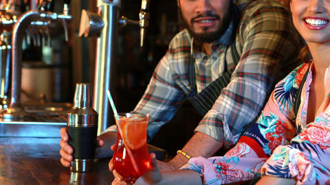 Portrait of smiling barmaid and barman with cocktail shaker and cocktail at bar Footage