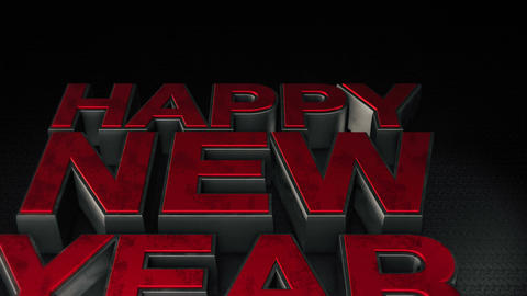 Metal 3D text Happy new year with reflection and light Animation