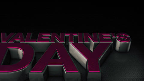 Metal 3D text Valentine's Day with reflection and light Animation